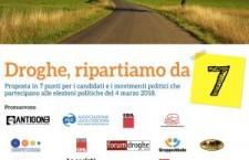 Droghe, ripartiamo da 7: le priorità del Cartello di Genova per le legislative del 4 marzo